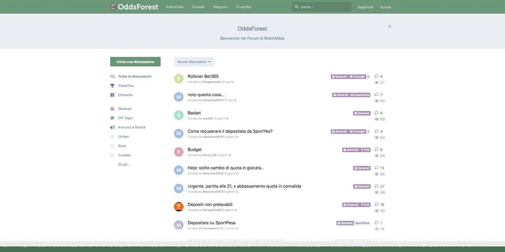 il forum di robinodds ti permettere ti permette di massimizzare i tuoi guadagni grazie ai consigli degli altri utenti